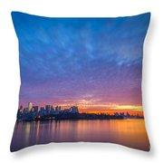 Ellis Island And Manhattan Sunrise Throw Pillow