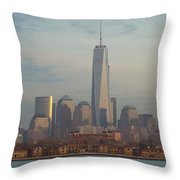 Ellis Island And The Freedom Tower Throw Pillow