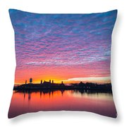 Ellis Island Silhouette Sunrise Throw Pillow
