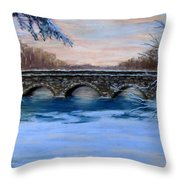 Elm Street Bridge On A Winter's Morn Throw Pillow