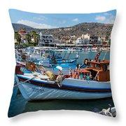 Elounda Harbour Throw Pillow