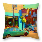 Elses Pub Cafe Plateau Montreal Corner Roy And De Bullion City Scene Art Of Montreal Carole Spandau Throw Pillow