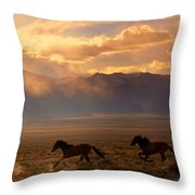 Elusive Wild And Free Mustangs Throw Pillow by Jeanne  Bencich-Nations