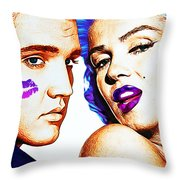 Elvis And Marilyn Monroe Throw Pillow