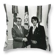 Elvis And Nixon Throw Pillow