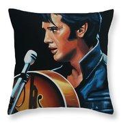 Elvis Presley 3 Painting Throw Pillow