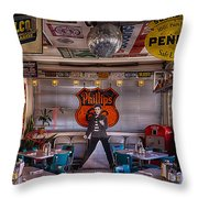 Elvis Presley At Albuquerque's 66 Diner Throw Pillow