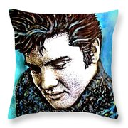 Elvis Presley Never Left The Building Alcohol Inks Throw Pillow