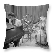 Elvis Presley On Piano Waiting For A Show To Start 1956 Throw Pillow