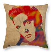 Elvis Presley Watercolor Portrait On Worn Distressed Canvas Throw Pillow