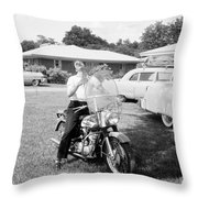 Elvis Presley With His 1956 Harley Kh Throw Pillow