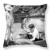 Elvis Presley With His Messerschmitt Micro Car 1956 Throw Pillow