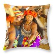 Embera Villagers In Panama Throw Pillow