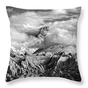 Embraced By Clouds Black And White Throw Pillow