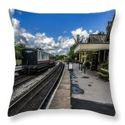 Embsay Railway Station Yorks Dales Throw Pillow