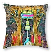 Emerald Buddha In Royal Temple At Grand Palace Of Thailand Throw Pillow