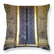 Emerald Buddha Temple Door Throw Pillow