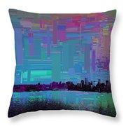 Emerald City Skyline Cubed Throw Pillow