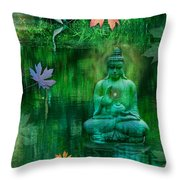 Emerald Crane Throw Pillow by Alixandra Mullins