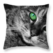 Emerald Eyes Cat  Throw Pillow