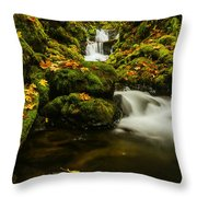 Emerald Falls In Columbia River Gorge Oregon Usa Throw Pillow