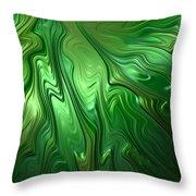 Emerald Flow Throw Pillow