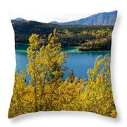 Emerald Lake At Carcross Yukon Territory Canada Throw Pillow