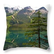 Emerald Lake Reflection And Pine Tree In Yoho National Park-british Columbia-canada Throw Pillow