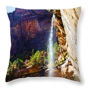 Emerald Pools Trail Waterfall - Zion Throw Pillow