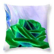 Emerald Rose Watercolor Throw Pillow