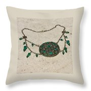 Emerald Vintage New England Glass Works Brooch Necklace 3632 Throw Pillow