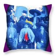 Emiliano Zapata In Group Portrait Xochimilco  Outside Of Mexico City 1914-2013 Throw Pillow
