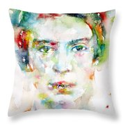 Emily Dickinson - Watercolor Portrait Throw Pillow