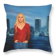 Emily  Miami Skyline Throw Pillow
