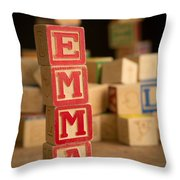 Emma - Alphabet Blocks Throw Pillow