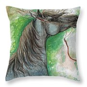 Emon Polish Arabian Horse 1 Throw Pillow
