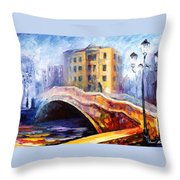 Emotional Autumn - Palette Knife Oil Painting On Canvas By Leonid Afremov Throw Pillow