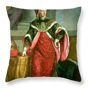 Emperor Francis I 1708-65 Holy Roman Emperor, Wearing The Official Robes Of The Order Of St. Stephan Throw Pillow