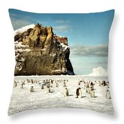Emperor Penguin Colony Cape Washington Antarctica Throw Pillow