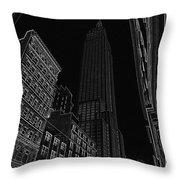 Empire Nyc White On Black Throw Pillow