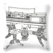 Empire Period Piano 1820 Throw Pillow