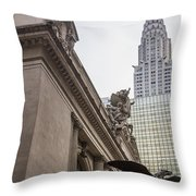 Empire State Building And Grand Central Station Throw Pillow by For Ninety One Days