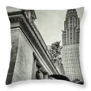Empire State Building And Grand Central Station Vintage Black And White Throw Pillow by For Ninety One Days