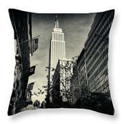 Empire State Building And Macys In New York City Throw Pillow by Sabine Jacobs