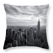 Empire State Building And Midtown Manhattan Black And White Throw Pillow