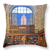 Empire State Building At The New York Public Library Throw Pillow