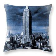 Empire State Building Blimp Docking Blue Throw Pillow