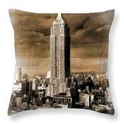 Empire State Building Blimp Docking Sepia Throw Pillow