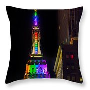 Empire State Building Lit For Gay Pride Throw Pillow