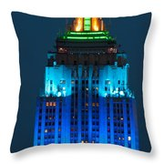 Empire State Building Lit Up At Night Throw Pillow